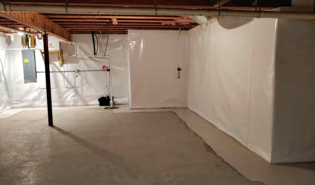 The finished waterproofing of a basement.